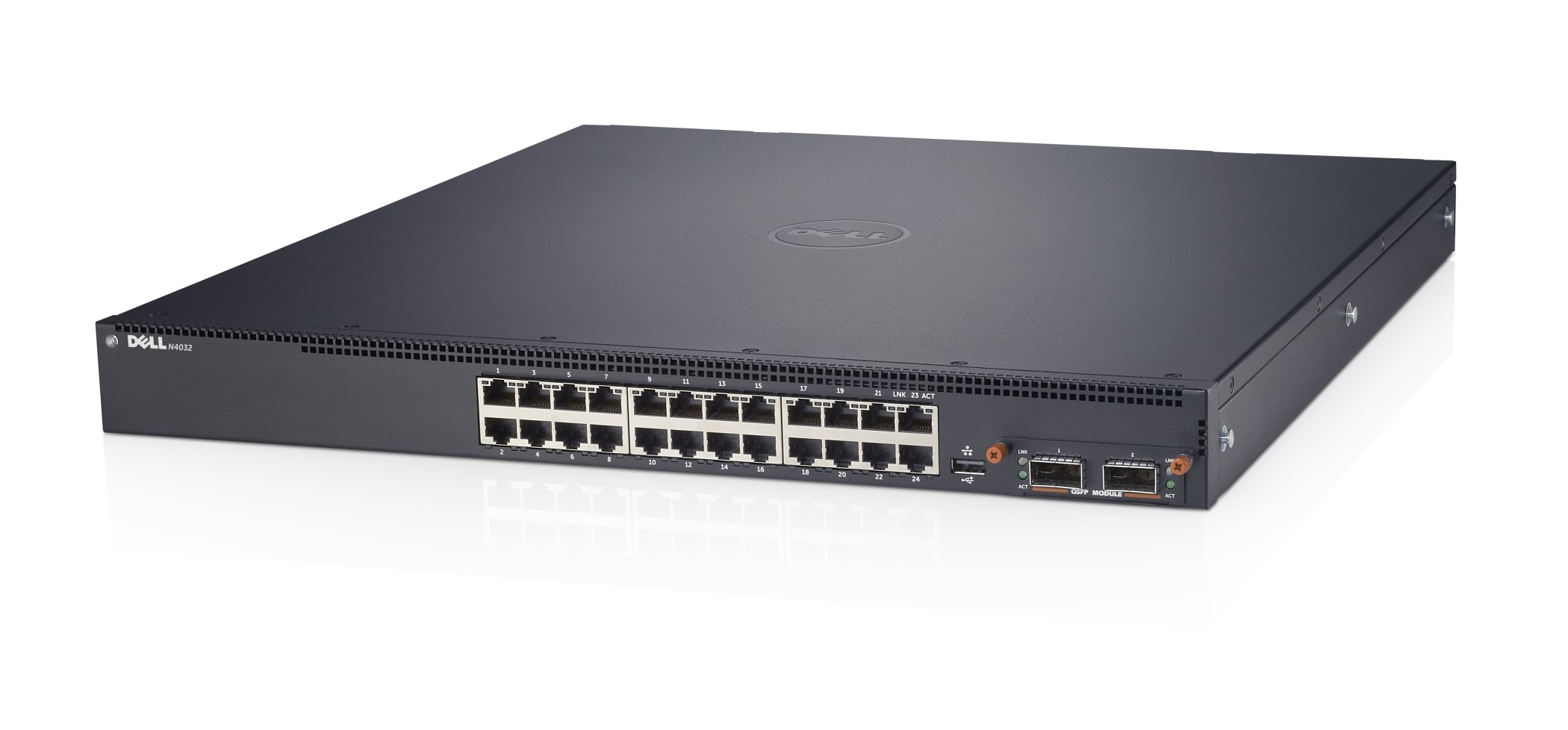Коммутатор Dell Networking N2024P, L2, POE+, 24x 1GbE + 2x 10GbE SFP+ fixed ports, Stacking, IO to PSU air, AC, Stacking Cable 1m,